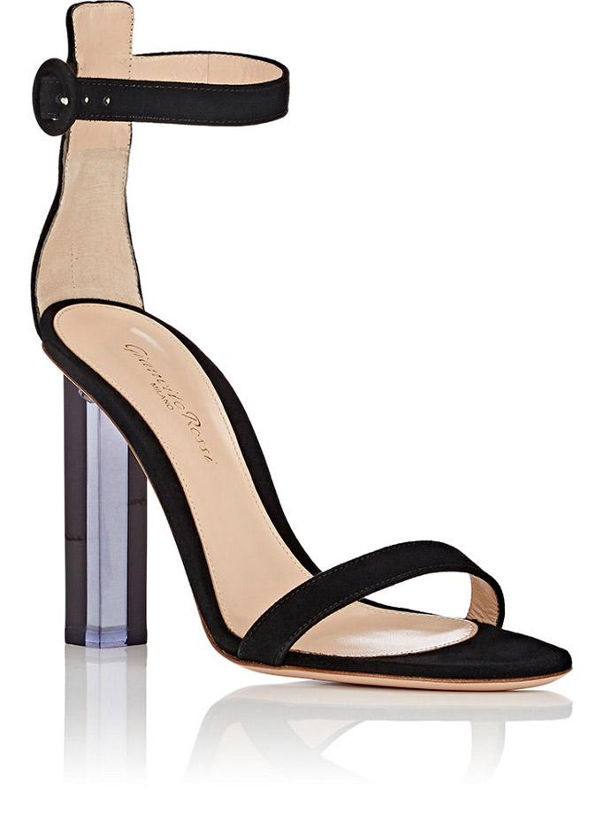 gianvito rossi, elias, sandals, lucite heel, black, strap