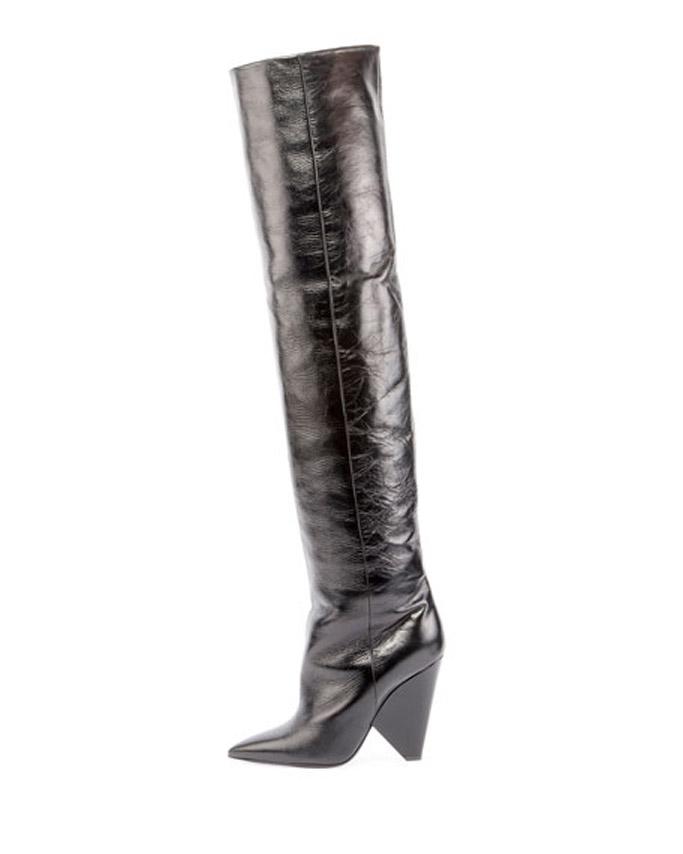 saint laurent crinkle leather boots
