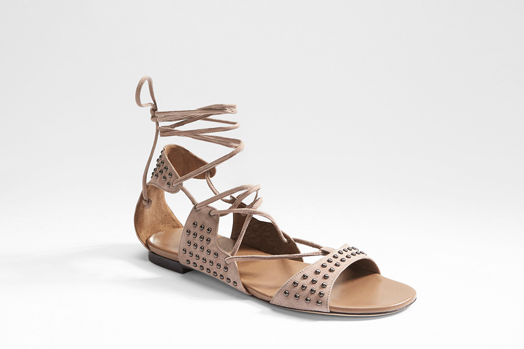 Tamara Mellon Amazon flat in taupe suede.