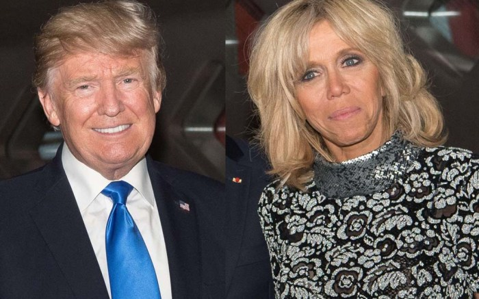 president donald trump, brigitte macron, first lady of france