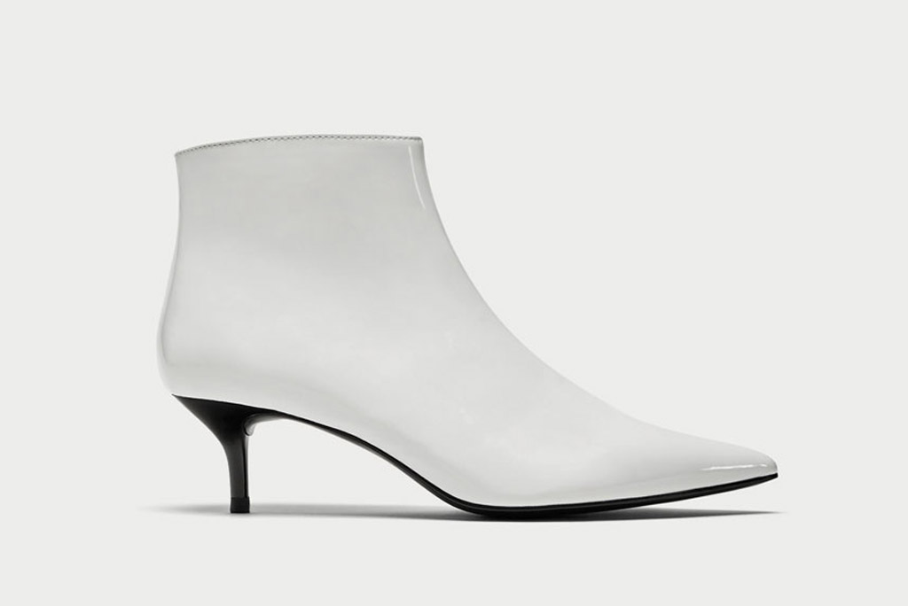 Zara, ankle boot, white, kitten heel