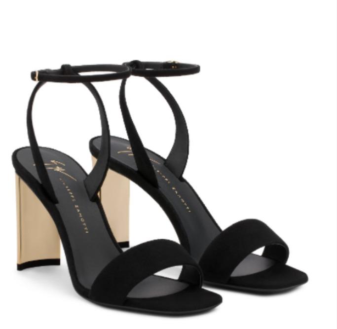 giuseppe zanotti charline Black suede sandal with chunky mirrored gold heel