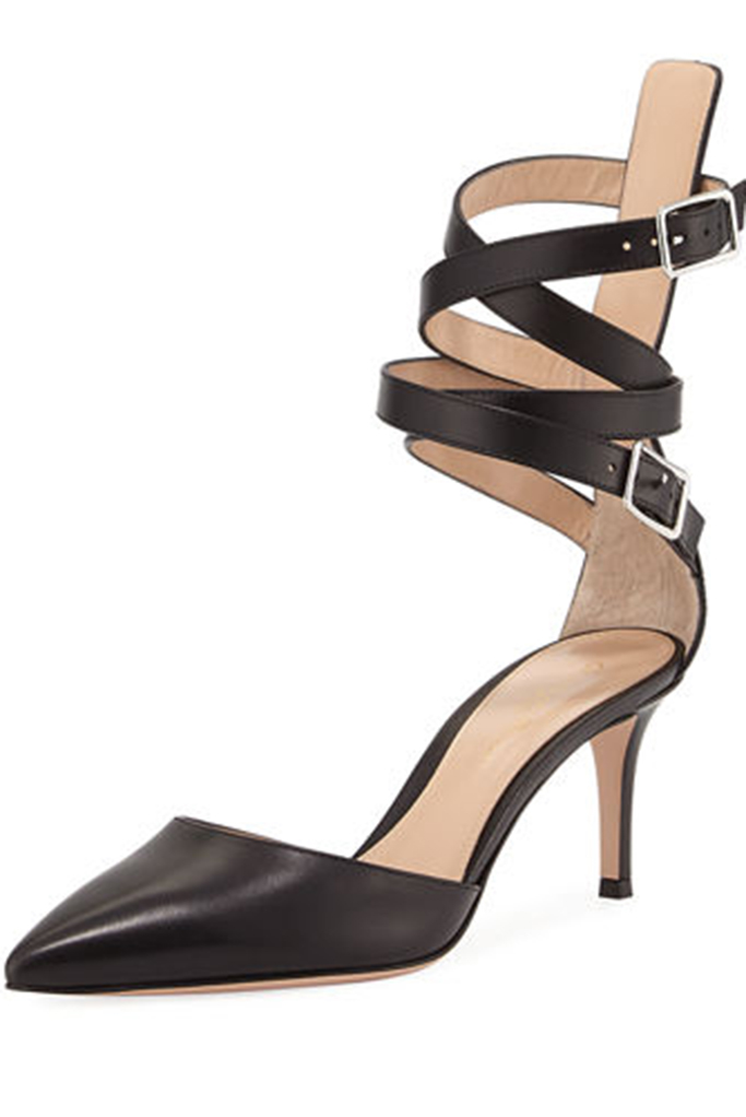 Aleris d'orsay black leather buckled pumps by gianvito rossi