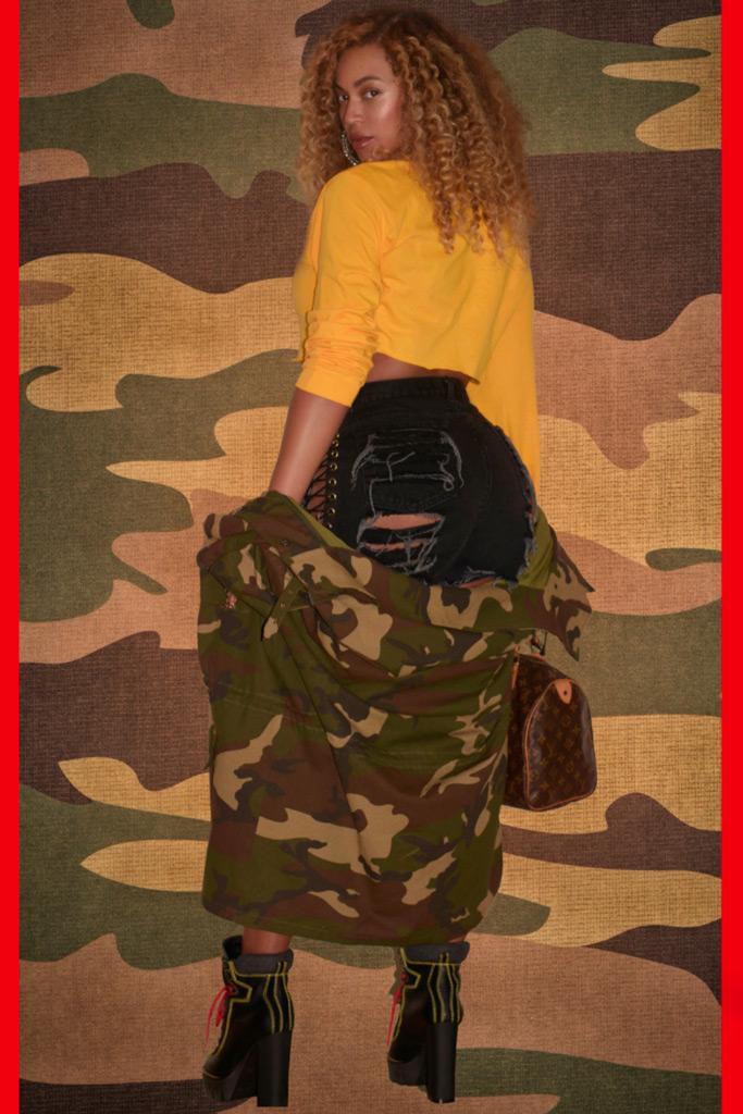 Beyoncé, t-shirt, abs, camo