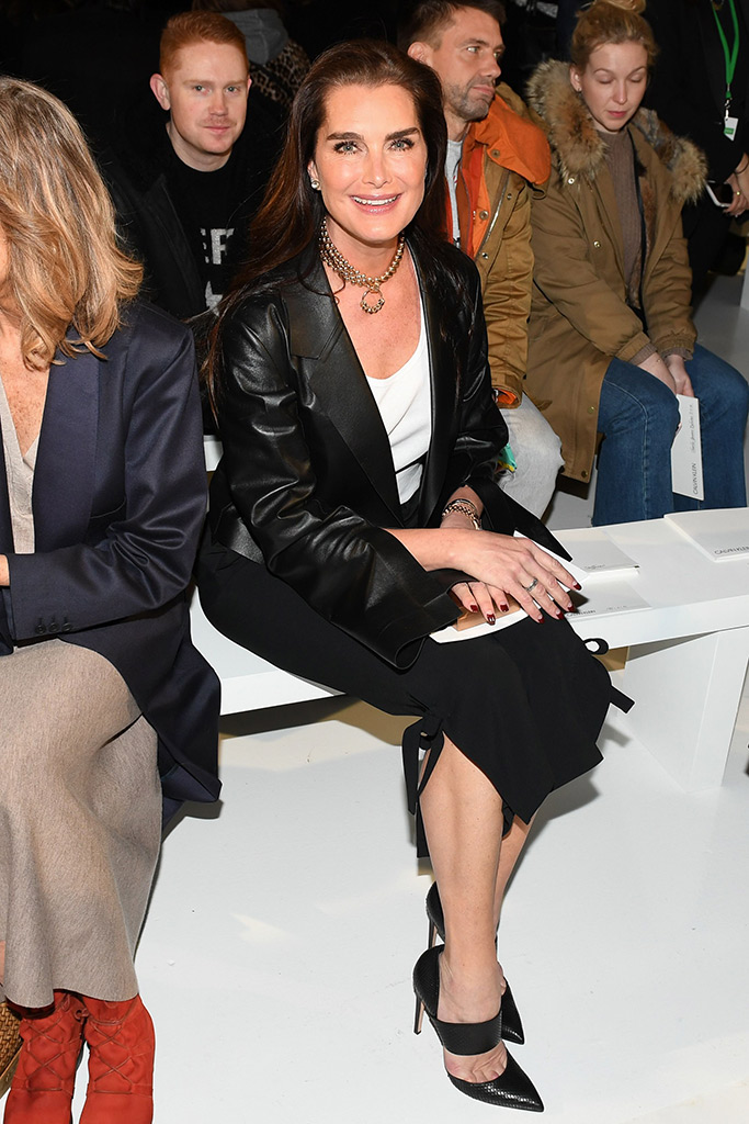 Brooke Shields sits front row at the Calvin Klein Fall Winter 2017 runway show in New York.