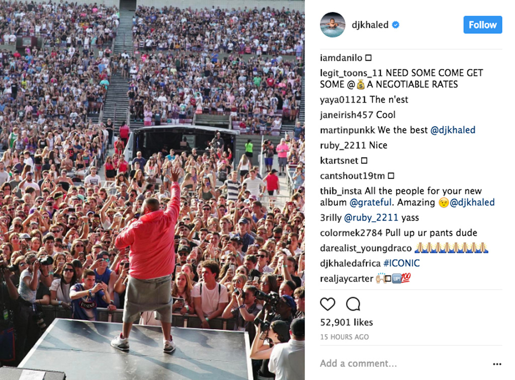 DJ Khaled Air Jordan 3 White Cement Billboard Hot 100 Music Festival