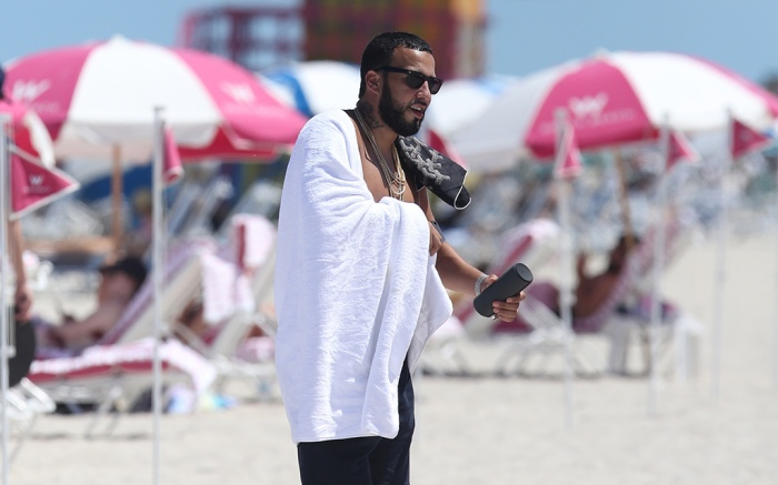 French Montana on the beach in Miami.
