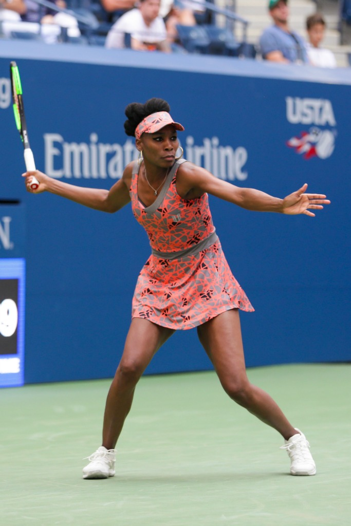 Venus Williams in an EleVen tennis dress and Nike sneakers