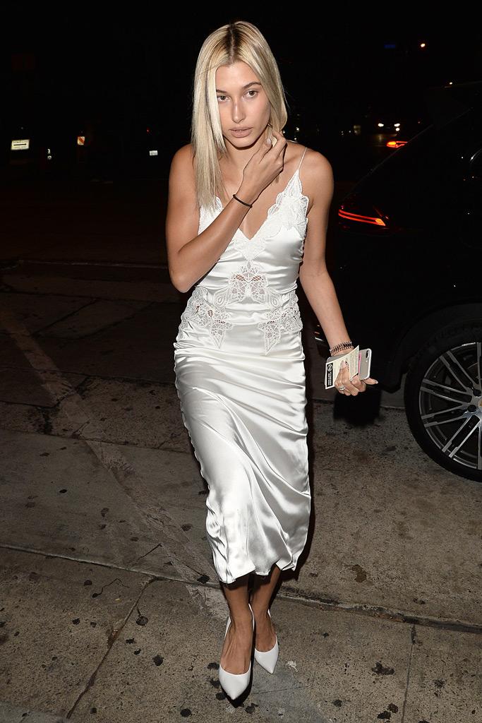 Hailey Baldwin, silver dress, white pumps