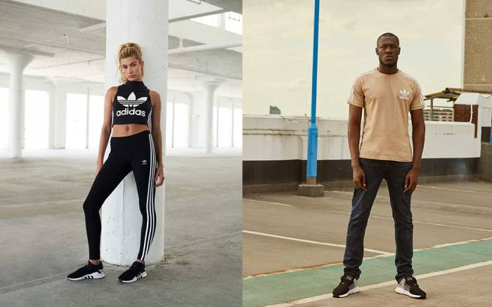 The Adidas and JD Sports fall 2017 EQT campaign featuring Stormzy and Hailey Baldwin.