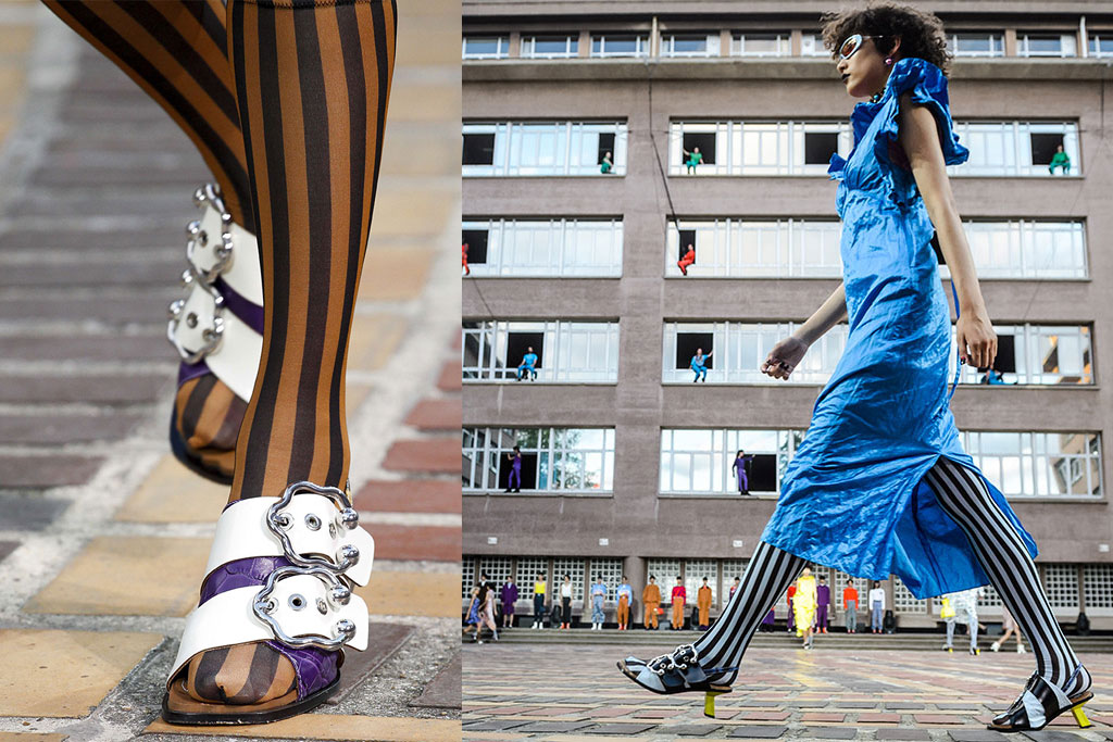 kenzo, ss 18 runway show, stripes, striped socks, shoe trends