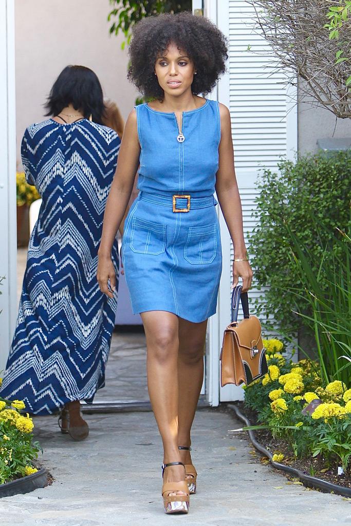 Kerry Washington, day of indulgence, denim dress, fashion