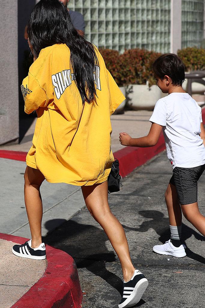 kourtney kardashian, mason disick, adidas, vintage t-shirt