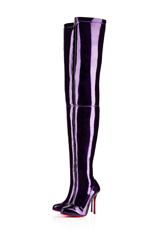 Christian Louboutin boots inspired by prince and pantone purple color