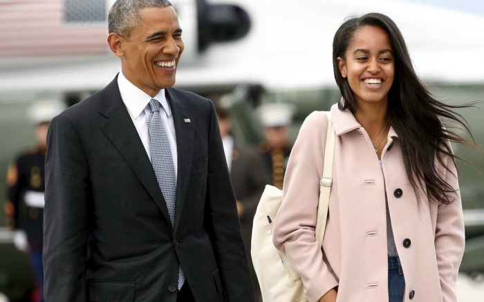 Former President Barack Obama and daughter Malia.