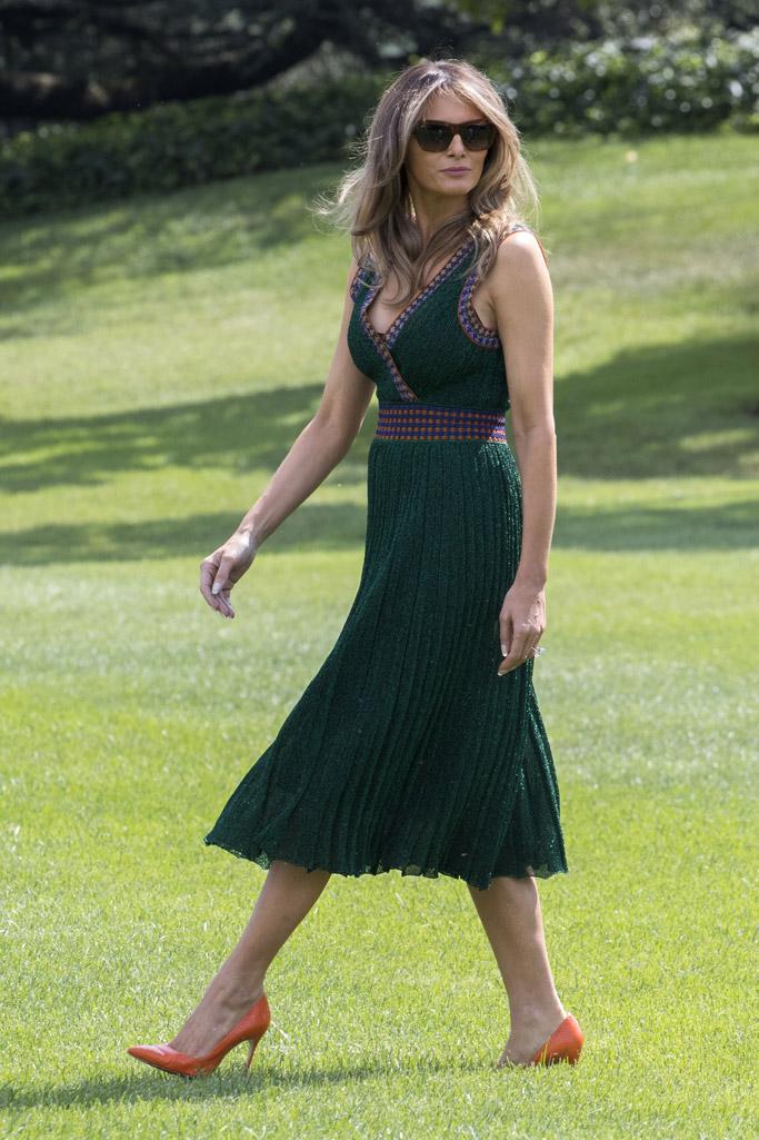melania trump, missoni, green dress, camp david