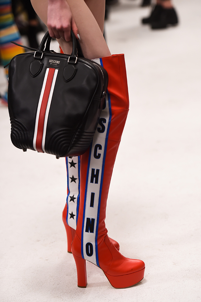 moschino, ss 18 resort show, stripes, striped boots, shoe trends