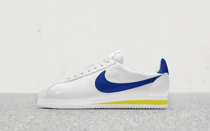 The New York version of the Cortez designed by International Girl Crew features a white base with pops of yellow and blue