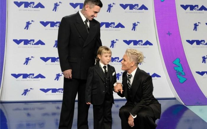 Pink with husband Carey Hart and daughter Willow Sage Hart at MTV VMAs