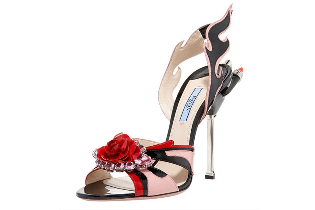 Prada Jewel-Toe Flame Sandal