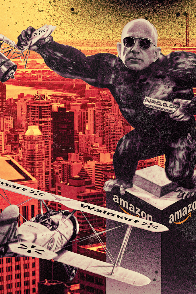 Jeff Bezos as King Kong on top of Amazon building fighting off Walmart planes