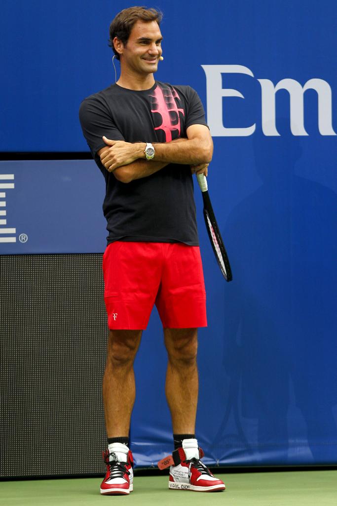 Roger Federer Wears Off-White x Air Jordan 1