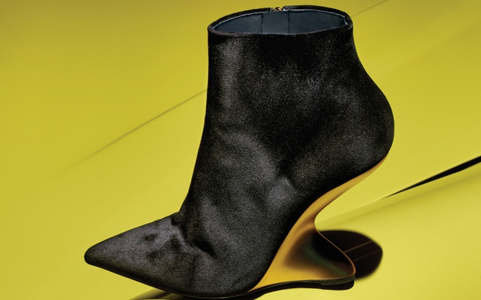 Salvatore Ferragamo F Wedge with galvanized heel.