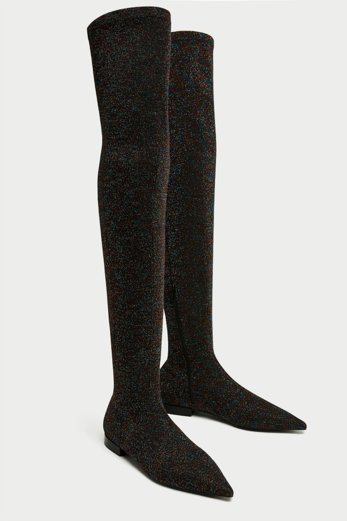 Zara Flat Multicolored Sparkled Over-the-Knee Boots