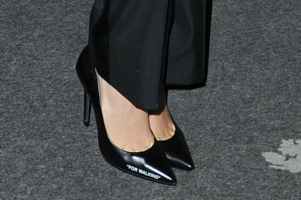 off-white 'for walking' pumps, bella hadid