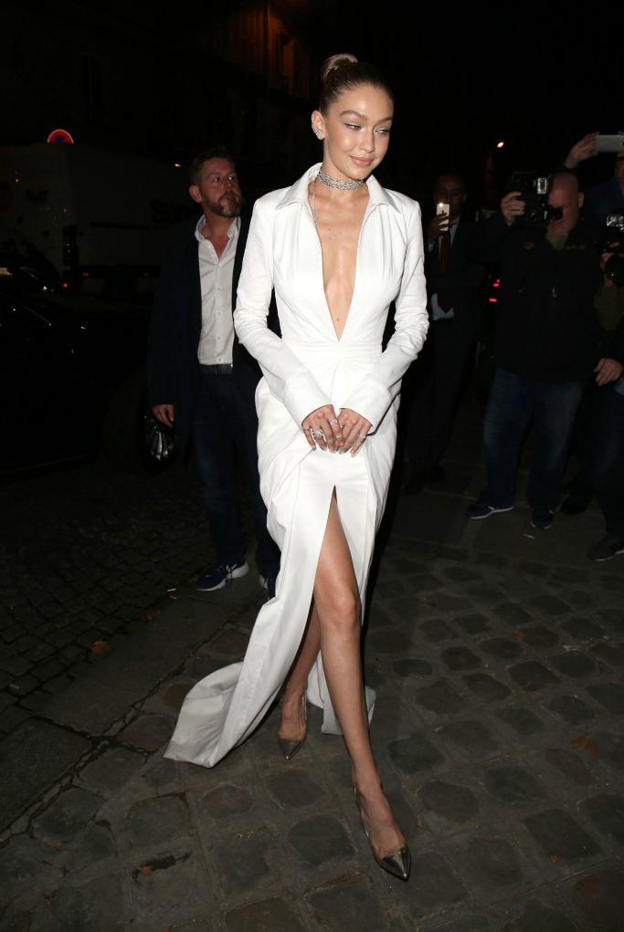gigi hadid, paris fashion week, brandon maxwell dress, gianvito rossi plexi pump