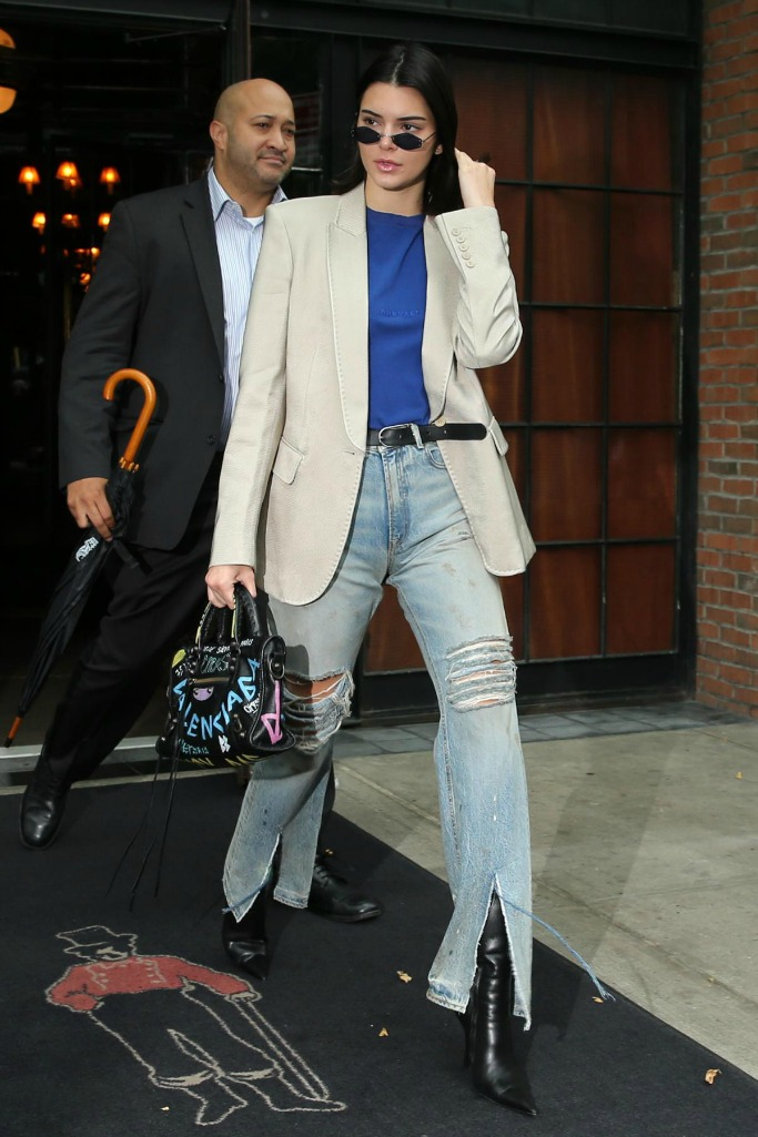 kendall jenner, balenciaga leather ankle boots