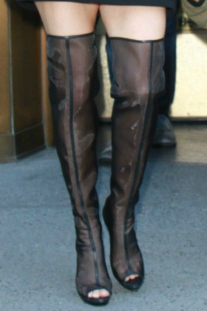 Fergie steps out in Vatanika sheerfergie, black over-the-knee boots