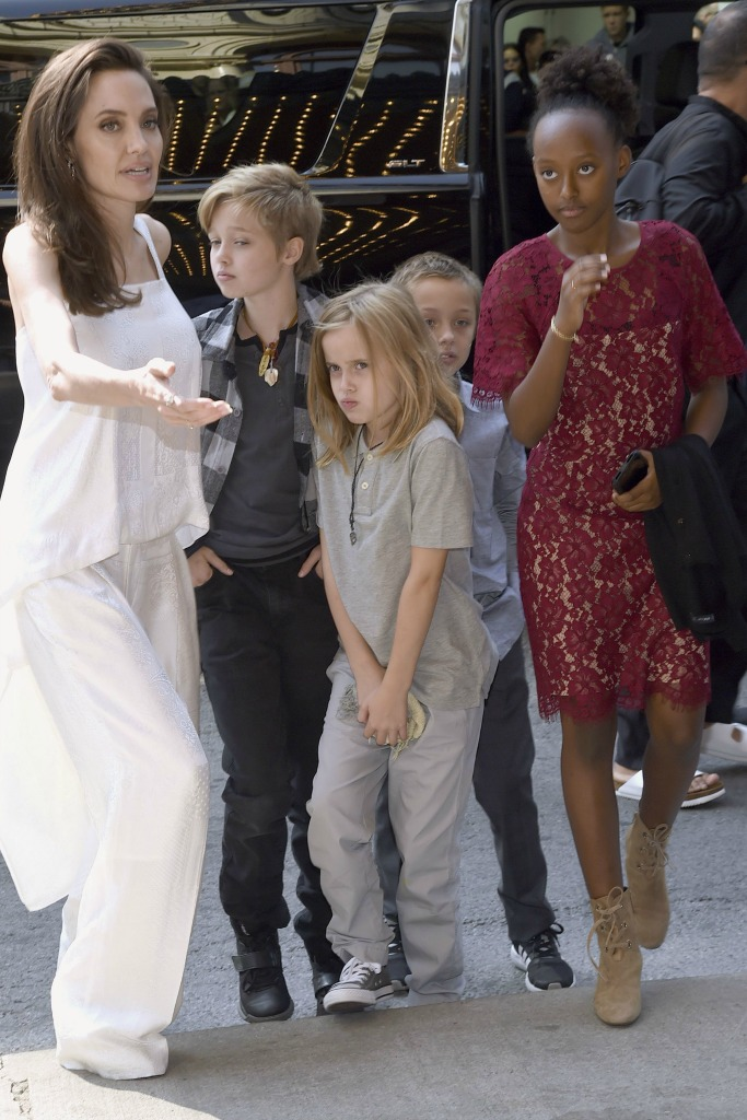 """Angelina Jolie with her children at """"The Breadwinner"""" premiere at the Toronto International Film Festival"""