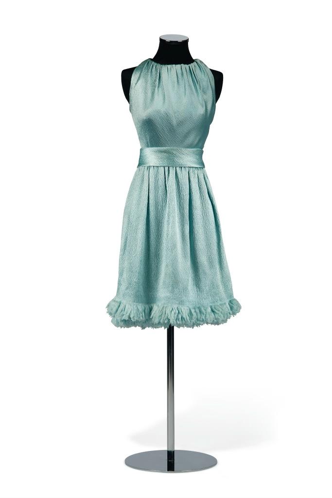 audrey hepburn Blue Satin Givenchy Cocktail Dress, Autumn/Winter 1966/67