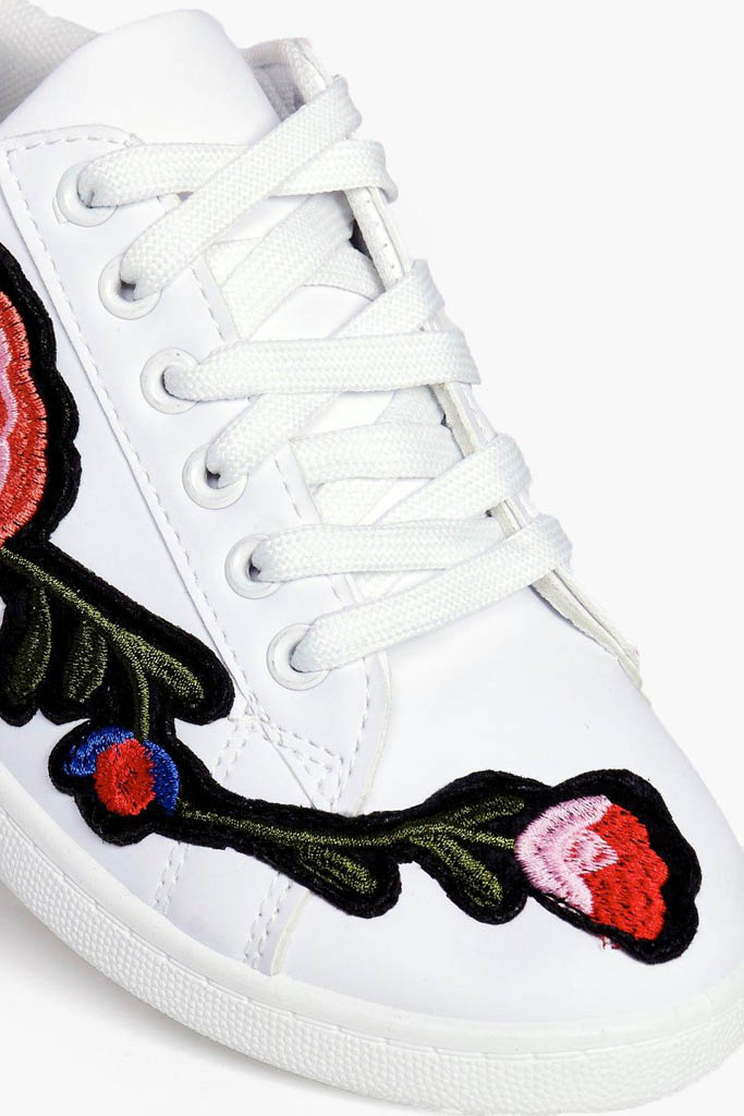 Boohoo Jessica Floral Embroidered Sneakers