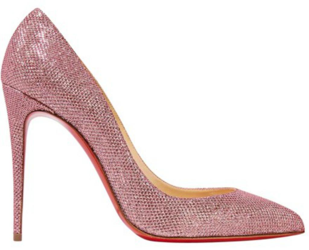 Christian Louboutin New Pigalle Follies 100 Glittered Pink Pumps