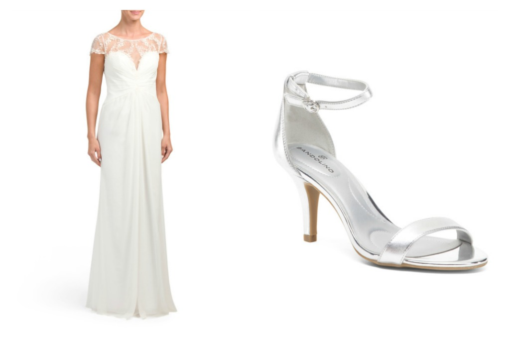 Clarisse Sweetheart Embellished Lace Gown and Bandolino Two-piece Evening Heels