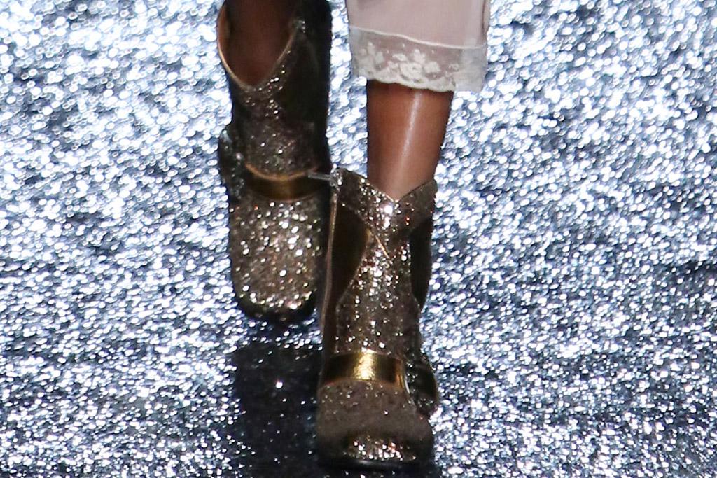coach spring 2018 nyfw, glitter boots