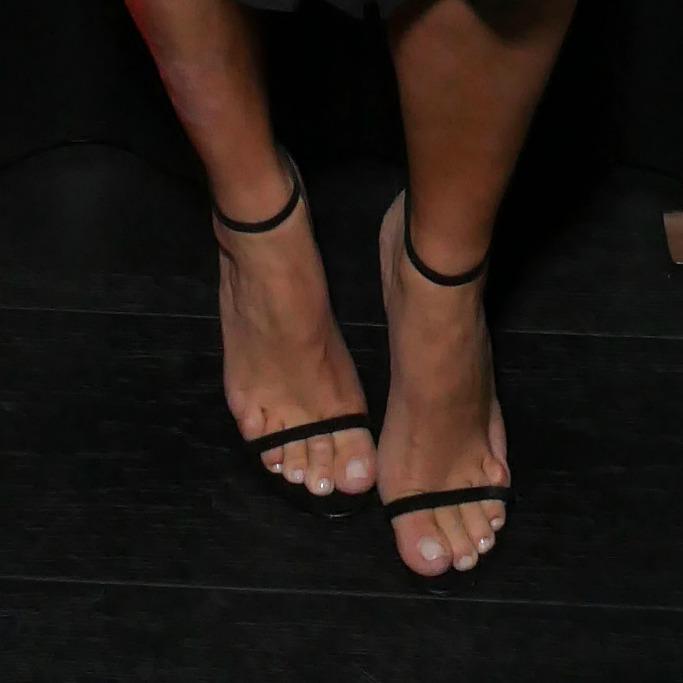 Detail of Kardashian's strap sandal