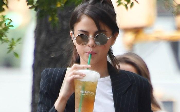 Selena Gomez sips on Starbucks on set of Woody Allen movie.