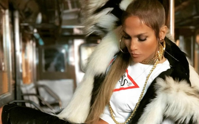"Jennifer Lopez filming her ""Amor"" music video."