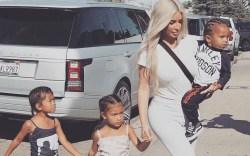 Kim Kardashian out with her kids.
