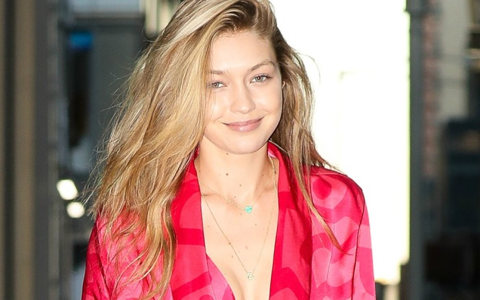 Gigi Hadid leaving an office building in the Diamond District in Midtown, New York City.