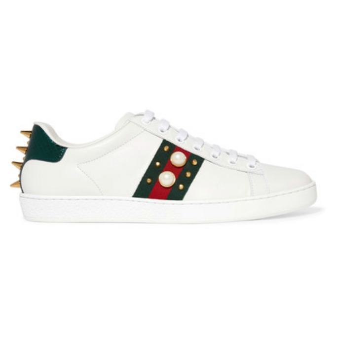 Gucci Ace metallic ayers-trimmed embellished leather sneakers
