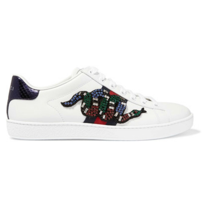 Gucci Snake-trimmed embellished leather sneakers