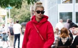 Hailey Baldwin in a Champion hoodie