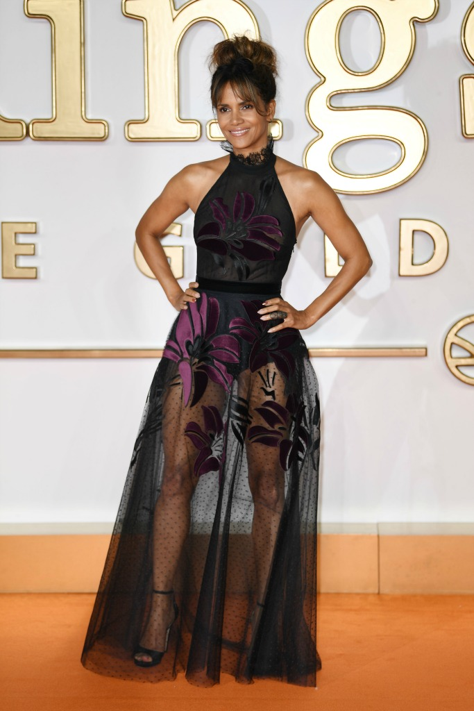 Halle Berry in an Elie Saab gown with Jimmy Choo heels