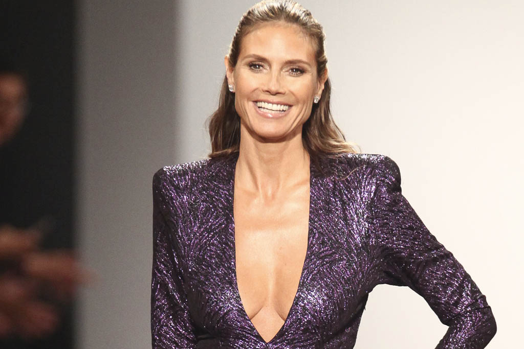 Heidi Klum Sizzles In Shimmery Purple At Project Runway S Nyfw Show Footwear News