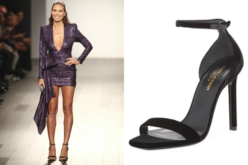 Saint Laurent Amber Velvet Ankle-Strap 105mm Sandal, heidi klum project runway