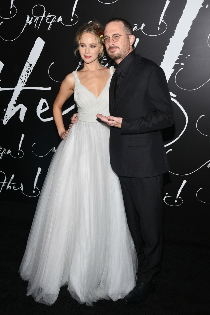 """Jennifer Lawrence in Dior with Darren Aronofsky at """"Mother!"""" premier"""